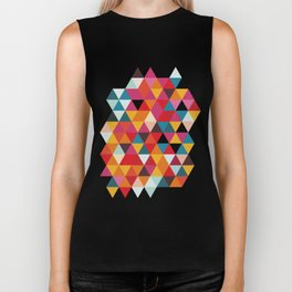 Vintage Summer Color Palette - Hipster Geometric Triangle Pattern Biker Tank