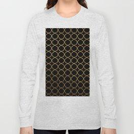 Elegant black faux gold glitter chic quatrefoil vector illustration Long Sleeve T-shirt