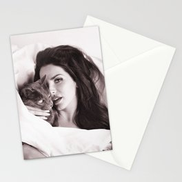 lana delrey with Cat, Stylish print Stationery Cards