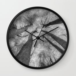 Ghostly Trees Reaching For The Sky Wall Clock