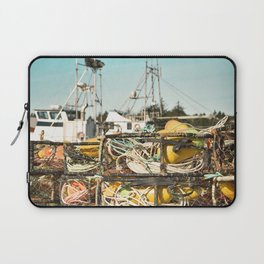 Crab Pot Photograph, Ilwaco Washington Harbor, Northwest Fisherman Boat Photo, Crabber, Seafood Laptop Sleeve