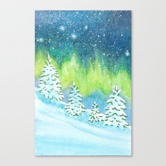 Winter Aurora Landscape Canvas Print