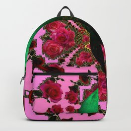 BEAUTIFUL GREEN PEACOCK PINK ROSES ABSTRACT Backpack