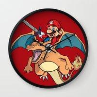 mario kart Wall Clocks featuring Mario Attack (parody) by franz