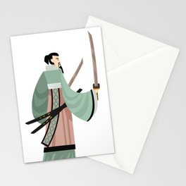 unarmored samurai with katana blades Stationery Cards