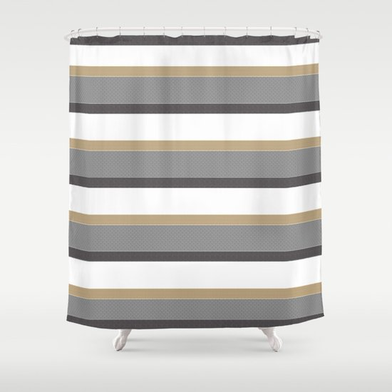 Grey And Gold Stripes With White Shower Curtain By Mur's