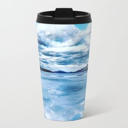 Reflection in Frozen Lake George Travel Mug