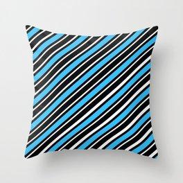 TEAM COLORS 1…Light blue back white diagonal stripe Throw Pillow