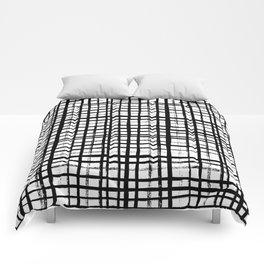Essie - Grid, Black and White, BW, grid, square, paint, design, art Comforters