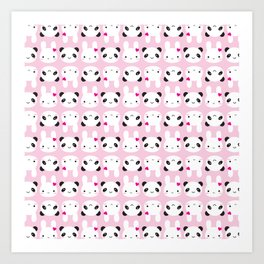 Super Cute Kawaii Bunny and Panda (Pink) Art Print