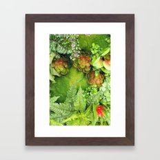 Green Fireworks Framed Art Print