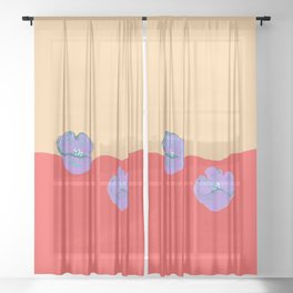 Purples poppies S44 Sheer Curtain
