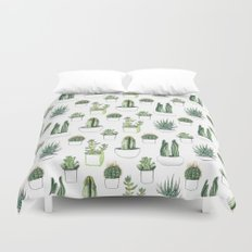 watercolour cacti and succulent Duvet Cover