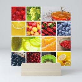 Colorful & Vibrant Fruit Collage Mini Art Print