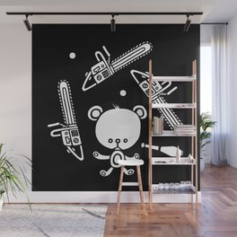 Cute Teddy Juggling 2 Balls, 3 Chainsaws and Club Wall Mural