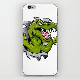 cartoon dinosaur ripping through a wall iPhone Skin