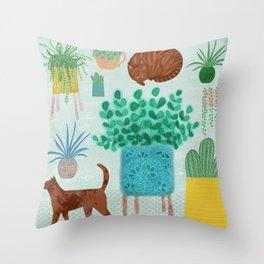 Cats and Cacti Throw Pillow