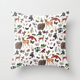 Wild Woodland Animals Throw Pillow