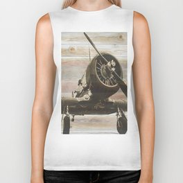 Old airplane 2 Biker Tank