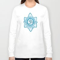 ohm Long Sleeve T-shirts featuring Ohm - Yoga Print by Emily Anne Thomas