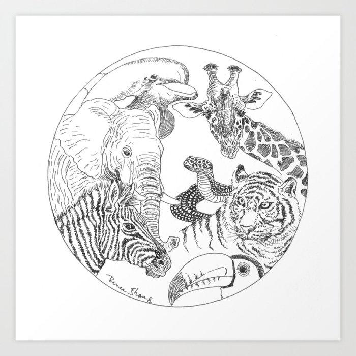 Earth Day Animals Art Print