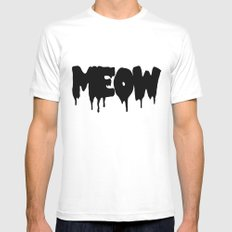meow White SMALL Mens Fitted Tee