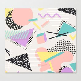80s / 90s RETRO ABSTRACT PASTEL SHAPE PATTERN Canvas Print