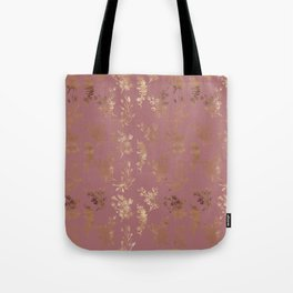 Mauve pink faux gold wildflowers illustration Tote Bag