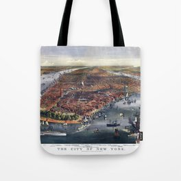 Gang of new york city old map Father Day art print poster Tote Bag