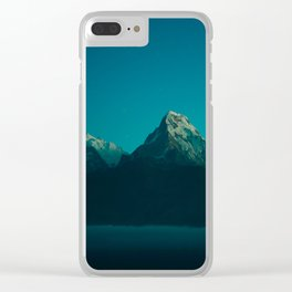 Magical Blue Mountains Star Night Sky Ombre Sunset Clear iPhone Case