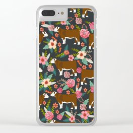Hereford Cattle breed floral farm homestead gifts cow art florals Clear iPhone Case