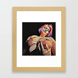 2376s-JG Jessica Striped in Light, Beautiful Big Bare Breasts Framed Art Print
