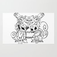 squirtle Area & Throw Rugs featuring Squirtle Evolutions de los Muertos | Pokémon & Day of The Dead Mashup | Dia de los Muertos by Aaron Bowersock