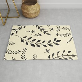 Black Leaves Pattern #2 #drawing #decor #art #society6 Rug