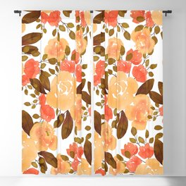 Winter fall gold orange brown watercolor roses floral Blackout Curtain