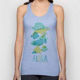 Blue and Yellow Fish Aloha Unisex Tank Top