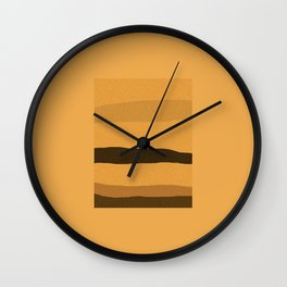 Modern Minimalist Abstract Landscape in Orange, Yellow and Brown. Contemporary Art. Wall Clock