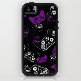 Video Game Purple on Black iPhone Case