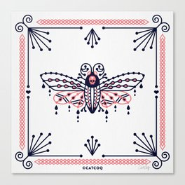 Death's Head Hawkmoth – Blush & Navy Palette Canvas Print