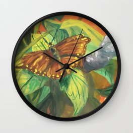 Butterfly at Rest Wall Clock