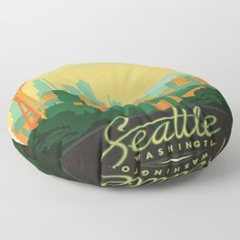 Vintage poster - Seattle Floor Pillow
