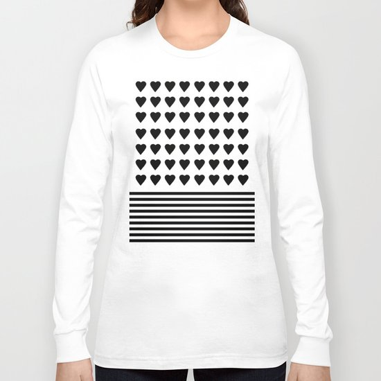 Heart Stripes Black on White Long Sleeve T-shirt