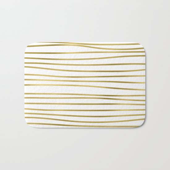 Small uneven gold glitter stripes on clear white - horizontal pattern on #Society6 Bath Mat