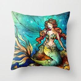 The Serene Siren Throw Pillow