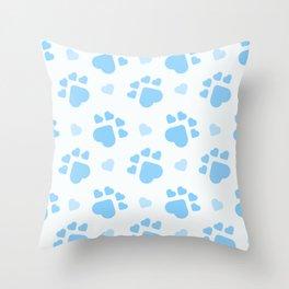 Blue dog paws Throw Pillow