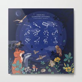Zodiac Constellations and Nocturnal Animals Metal Print