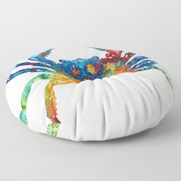 Colorful Crab Art by Sharon Cummings Floor Pillow