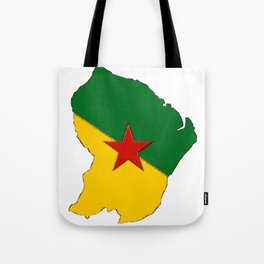French Guiana Map with French Guianan Flag Tote Bag