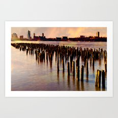 City River Sundown Art Print
