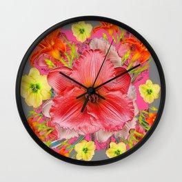 YELLOW PINK & CREAM DAYLILIES GREY GARDEN PATTERNS Wall Clock